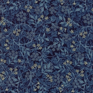 Tissu patchwork reproduction de William Morris jasmin bleu foncé - Morris Garden