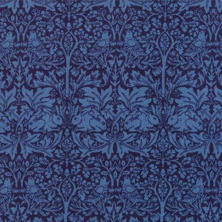 Tissu patchwork reproduction de William Morris lapins et oiseaux bleu foncé - Morris Garden