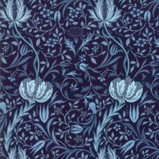 Tissu patchwork reproduction de William Morris fleurs entrelacées bleu foncé - Morris Garden