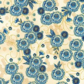 Tissu patchwork japonais dahlia indigo fond écru