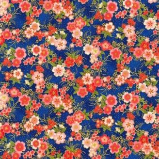 Tissu patchwork japonais fleurs de cerisiers fond bleu