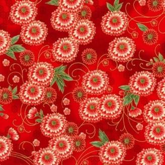 Tissu patchwork japonais dahlia fond rouge