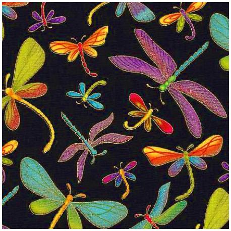 Tissu patchwork libellules multico et dorées fond noir
