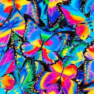 Tissu patchwork papillons multico fond noir