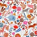 Tissu patchwork éléphant, lions et girafes fond blanc - Meadow Safari