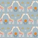 Tissu patchwork girafes fond gris bleu - Meadow Safari