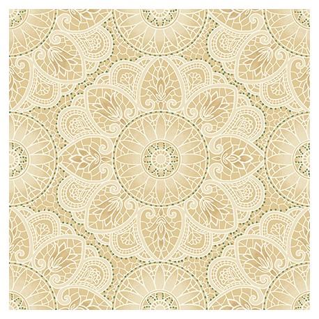 Tissu patchwork rosaces Mandala écrues et beiges - Sage and Sea Glass de Kim Diehl