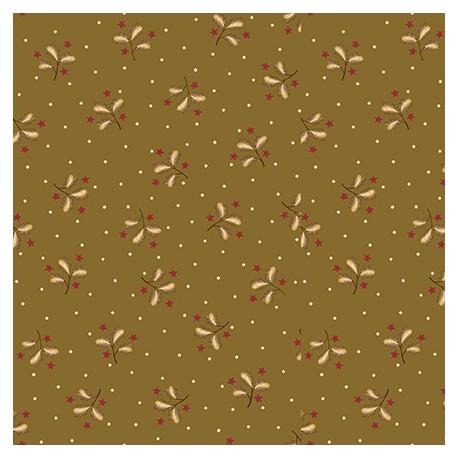 Tissu patchwork brins et étoiles fond vert olive - Sage and Sea Glass de Kim Diehl