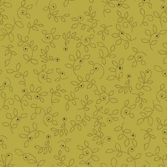 Tissu patchwork feuilles fond vert lumineux - Sage and Sea Glass de Kim Diehl