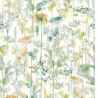 Tissu patchwork fougères et fleurs vertes, oranges et argentées fond blanc - A little birdie told me
