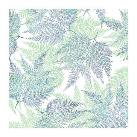 Tissu patchwork grandes fougères vertes fond blanc - A little birdie told me