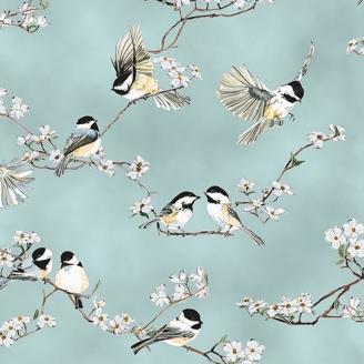 Tissu patchwork mésange et cerisier en fleur fond bleu - A little birdie told me
