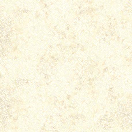 Tissu batik pâquerettes écrues ton sur ton