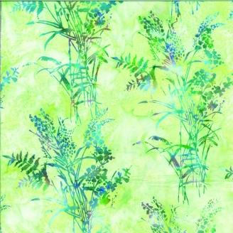 Tissu batik herbes sauvages multicolores fond vert clair