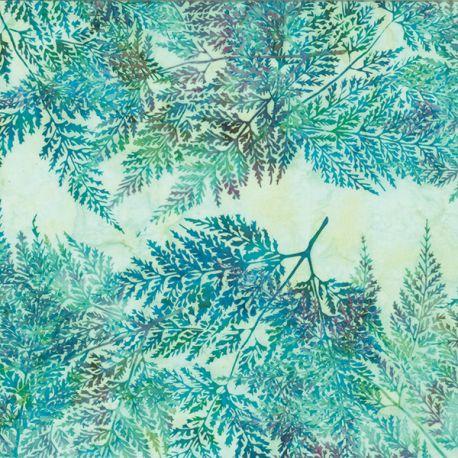 Tissu batik grandes feuilles bleues fond ciel