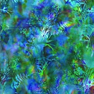 Tissu batik herbes sauvages multicolores