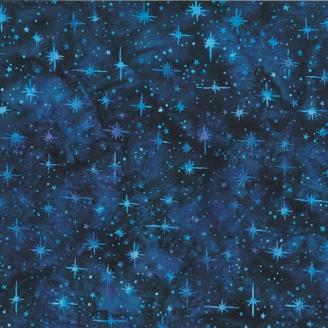 Tissu batik étoiles fond bleu