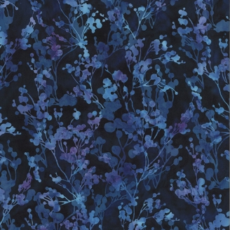 Tissu batik feuillage bleu et violet fond marine