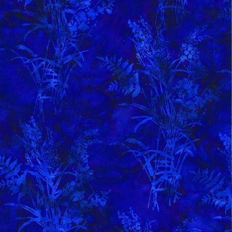 Tissu batik herbes sauvages bleues fond violet