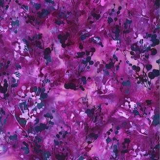 Tissu batik branchages prune ton sur ton