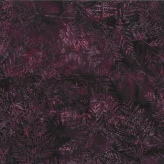 Tissu batik grandes feuilles prune ton sur ton