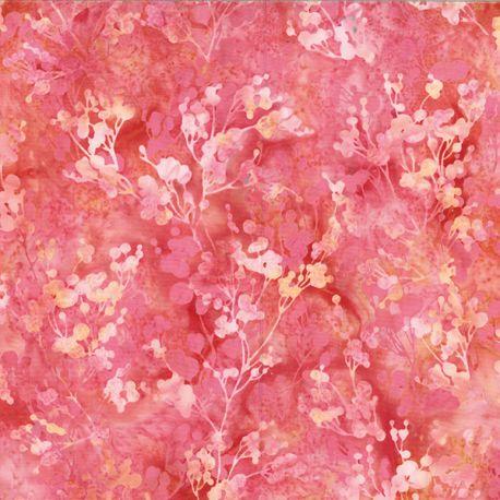 Tissu batik branchages roses ton sur ton