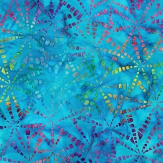 Tissu Batik moulins multico fond turquoise
