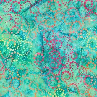 Tissu Batik tourbillon de pois rouge/orange fond vert lagon