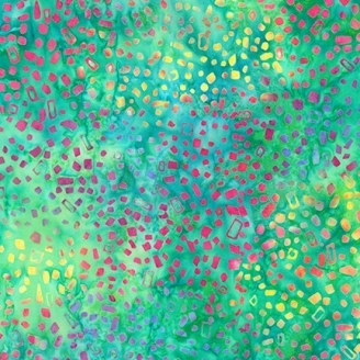 Tissu Batik cubes rouge/orange fond vert lagon