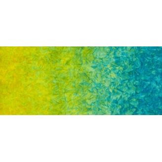 Tissu batik marbré en dégradé jaune/bleu Caribbean - Patina
