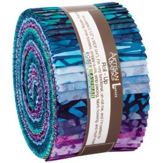 Jelly Roll de tissus batiks bleu violet Natural formations