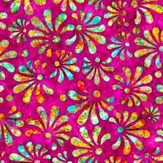 Tissu patchwork fleur stylisée fond fuchsia - Radiance