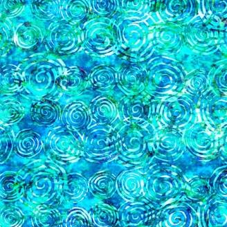 Tissu patchwork volutes bleu turquoise ton sur ton - Radiance