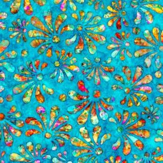 Tissu patchwork fleur stylisée fond turquoise foncé - Radiance