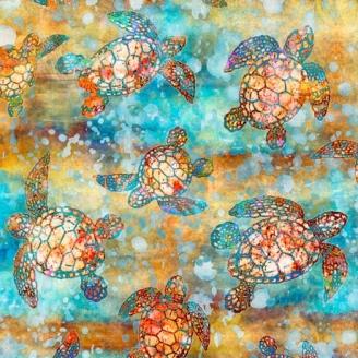 Tissu patchwork tortues de mer fond bleu ocre - Oceana