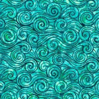 Tissu patchwork vagues turquoises - Oceana