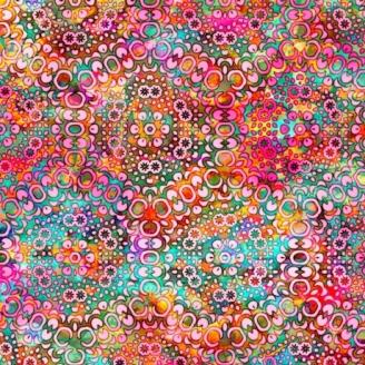 Tissu patchwork kaléidoscope rose et vert - Rhythm