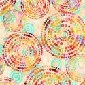 Tissu patchwork cercles de pois multico fond crème - Rhythm
