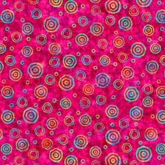 Tissu patchwork bulles fond rose fuchsia - Rhythm