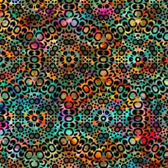 Tissu patchwork kaléidoscope multico et noir - Rhythm