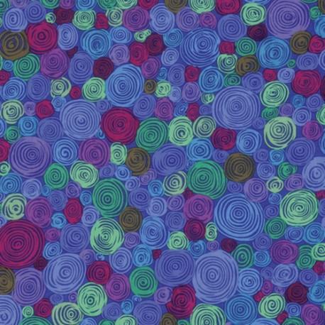 Tissu Kaffe Fassett bleu à spirales Rolled Paper GP158