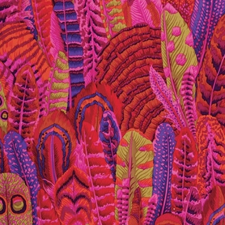 Tissu Philip Jacobs plumes rouges PJ055