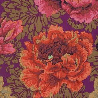 Tissu patchwork Philip Jacobs Brocade Peony fond pourpre