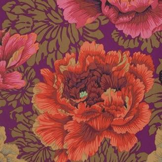 Tissu patchwork Philip Jacobs Brocade Peony fond pourpre