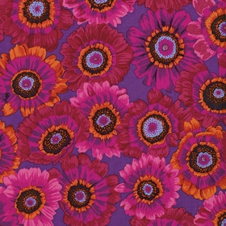 Tissu Philip Jacobs Marguerites rouges fond violet Painted Daisy PJ057