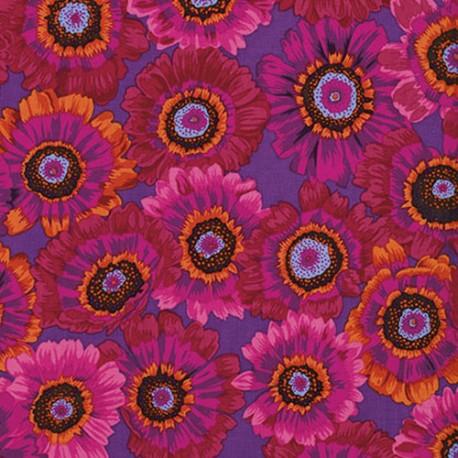 Tissu Philip Jacobs Marguerites rouges fond violet Painted Daisy PJ057