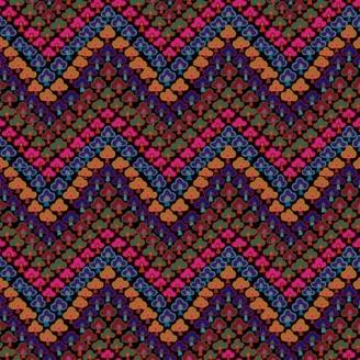 Tissu Kaffe Fassett trèfles multicolores foncés Trefoil GP167