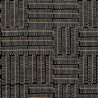 Tissu patchwork ressorts blancs et lignes dorées fond noir