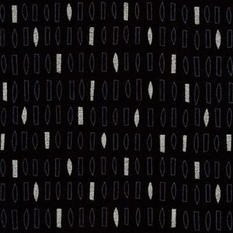 Tissu patchwork rectangles argentés fond noir - Wayside