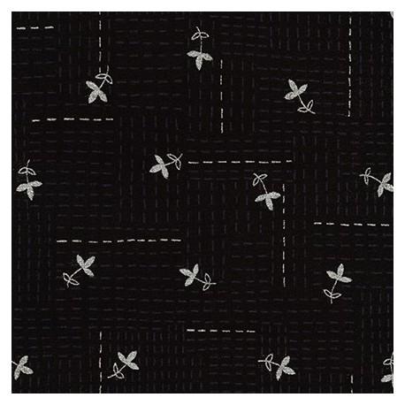 Tissu patchwork fleurettes argentées fond noir - Wayside